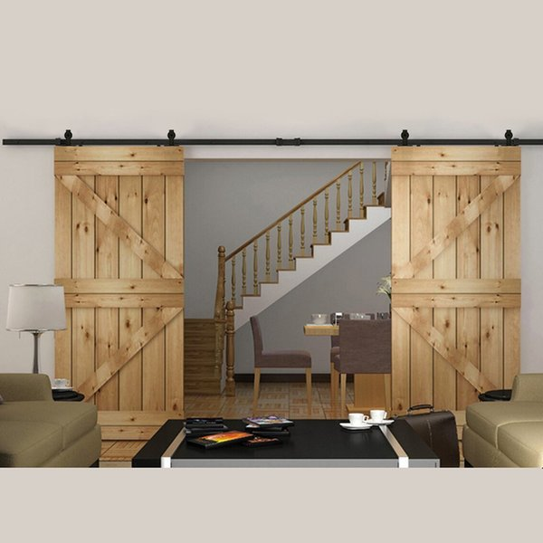 2019 5 16ft Rustica Antique Style Flat Interior Barn Doors Hardware Included Use For Wooden Diy Pole Track Set From Sun Shine 161 91 Dhgate Com