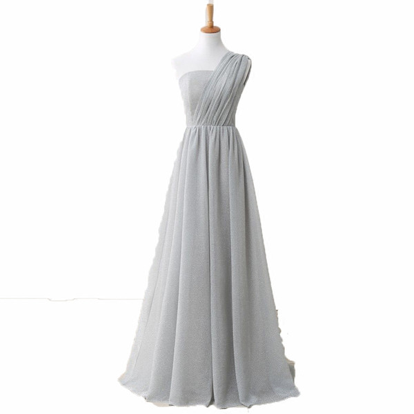 One Shoulder Long Bridesmaid Dress Lace Up 2018 Elegant Long Women Party Dress Light Gray Custom Made