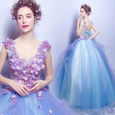 2017 New Fashion Cheap Hand Made Flowers Wedding Dresses Fancy Applique Sleeveless Backless Prom Girls Pageant Dress Ball Gown