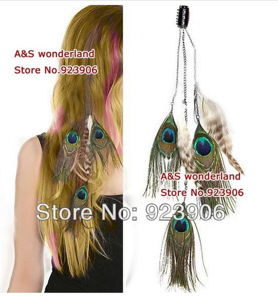 peacock feathers 3layer peacock grizzly feather peacock hair extension clip in hair extensions hot sale 20pcs/lot