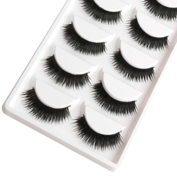 Saleing False EyeLashes 1 Box 5 Pairs Thick Black False Eyelashes Makeup Tips Natural Smoky Makeup Long Fake Eye Lashes