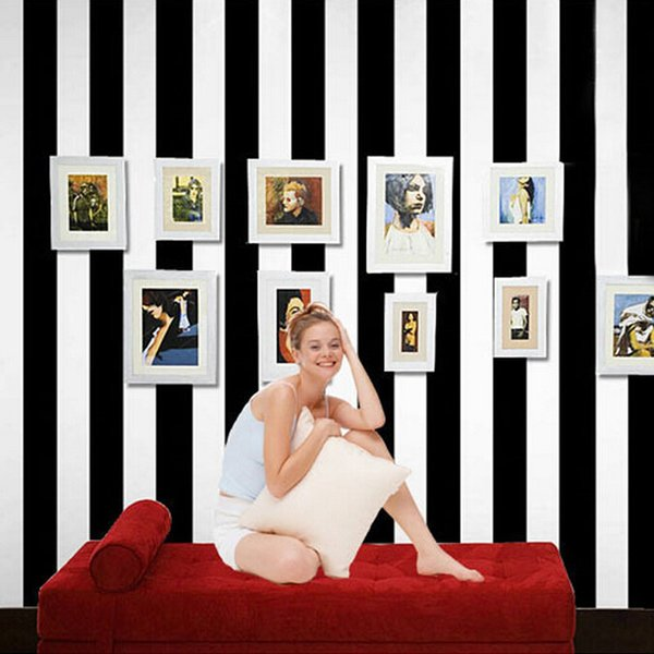 Wholesale-10M roll black and white wide stripe wallpaper simple Cross vertical striped wall paper decor for living room background wall