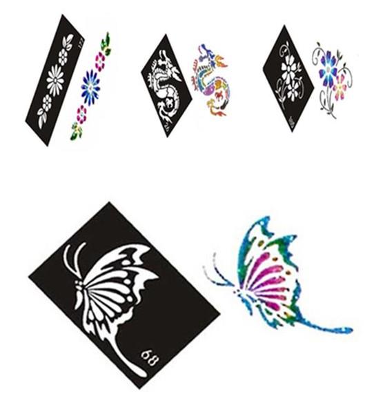 Al por mayor-500 Mixed Design Sheets Stencils para Body Painting Glitter Kit de tatuaje temporal al por mayor Envío gratuito