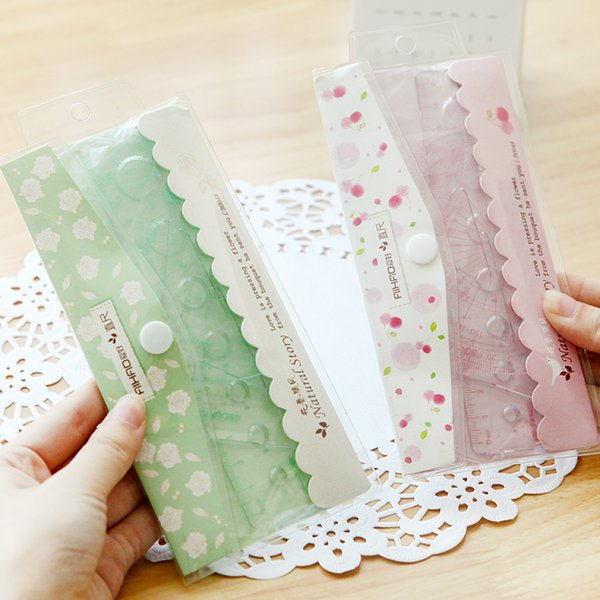 Wholesale- Set of 4pcs Floral Sweet Measuring Ruler Office School Supply Kids Student Stationery Set Metric Drawing Tool