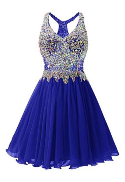 Cristal frisado V Neck Chiffon azul Homecoming Vestidos Vestido elegante vestido de festa
