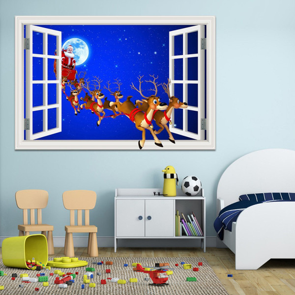 Christmas Father and Elk Santa Claus Deer 3D Window View Wall Sticker Home Decor for Hotel Bar Living Room Mural Wallpaper Drop Shipping