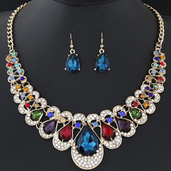 Red Blue Black Champagne Colors Luxurious Earring Necklace Set Blingbling Stone Necklaces Women Fashion Party Dinner Jewelry
