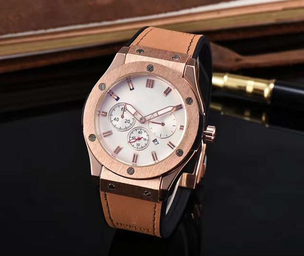 2017 todos os mostradores de trabalho versão mais recente da pulseira de couro marca de moda relógio de alta qualidade dos homens QUENTES do relógio ocasional leisure3