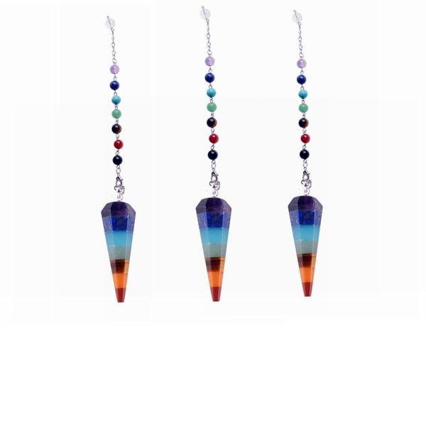 7 Chakra Pierre Yoga Collier Quartz Brut Pierre Naturelle Dowsing Pendule Colliers Reiki Rainbow Jewelry Femme Cadeau