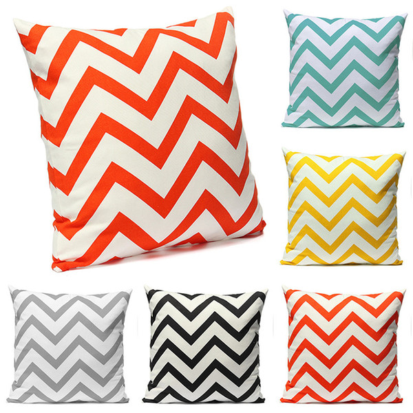 New Fashion Ripple Chevron Zig Wave Linen Cotton Pillow Cover Brief Generous Pillow Case Pillowcases For Home Accessories