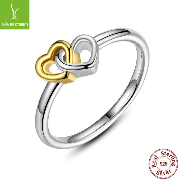 9f1c6a39e 925 Sterling Silver Heart to Heart Ring Double Heart Fine Jewelry for Women  Valentine's Day Gift