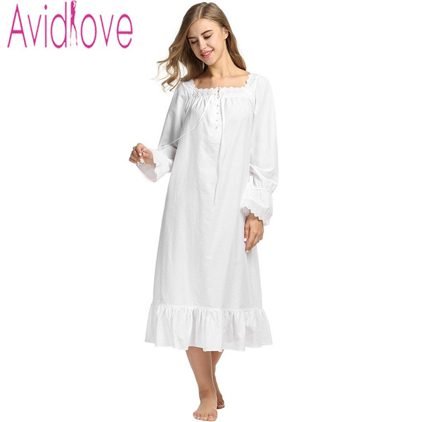 b4e0794f8c Wholesale- Avidlove Women White Sleep Dress Cotton Long Sleeve Nightgown  Sexy Solid Sleepwear Spring Autumn Home Dress Long Robe For Lady