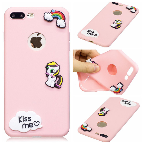 Soft Tpu 3D Cartoon Pony Horse Case Back Cover Candy Silicone Shell For iPhone 7G Plus 6 6s Samsung Galaxy S7 edge s8