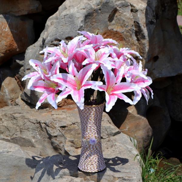 Cabeças de Seda de Flor Artificial decorativa Encantador Real Toque Lily Flor Artificial Festa de Casamento Em Casa Decoração De Seda Decoração Floral Bouquet