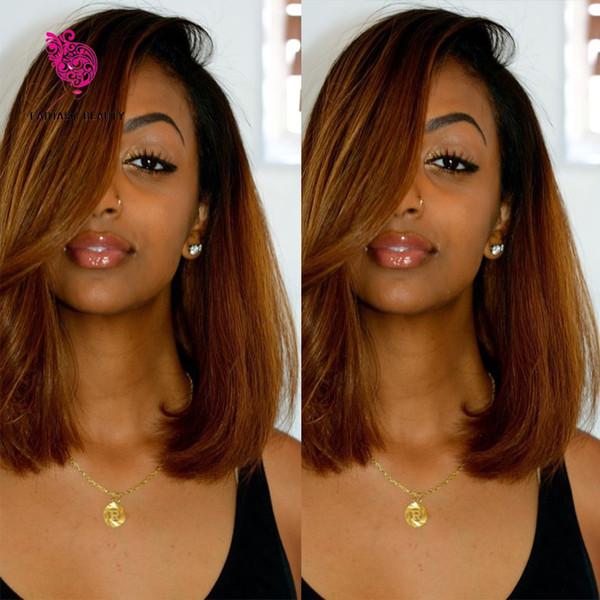 Brésilienne Vierge Cheveux Sans Colle Full Lace Perruque Ombre Bob Style Deux Tons 1B / 30 Cheveux Humains Bob Perruque Avant de Lacet Perruques Pour Les Femmes