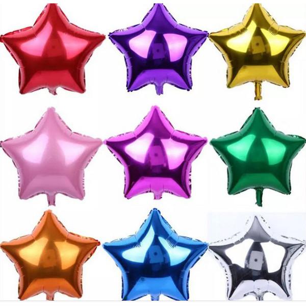 Yeni Renkli Beş Köşeli Yıldız Alüminyum Kaplama Balonlar Güzel Çocuk Oyuncakları Mutlu Doğum Günü Partisi Düğün Hediyeleri Süslemeleri