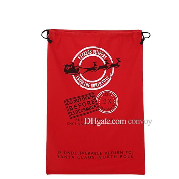 Christmas Large Volume Santa Claus Sack Bags with Adjustbale Drawstring Xmas Reindeers Monogramable Pattern Gifts Bags Free DHL CFB06