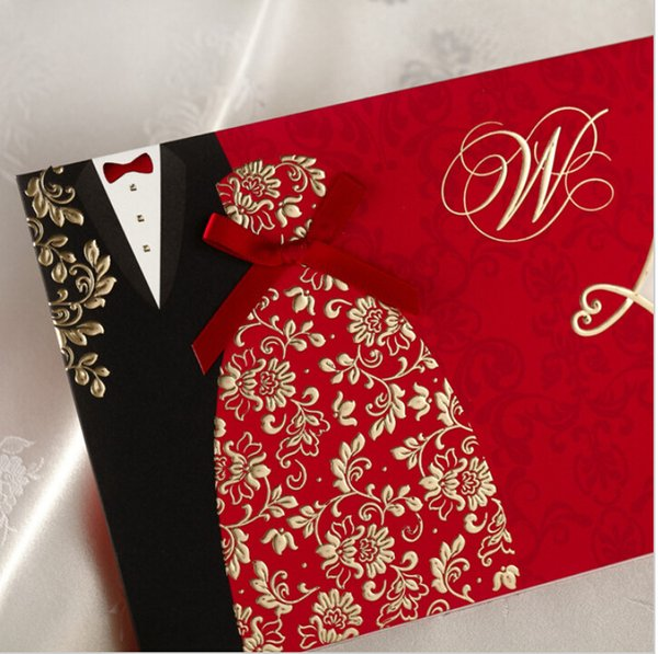 Wholesale-50pcs / lot ropa de estilo chino invitaciones de boda elegante tarjeta de invitación de matrimonio Convite Casamento event Party Supplies