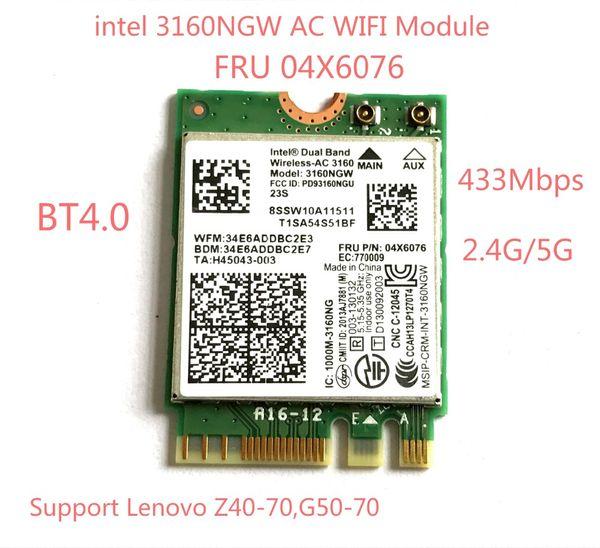 Commercio all'ingrosso - Dual Band Wireless-AC 3160 Wifi Bluetooth NGFF FRU 04X6076 per Lenovo G50-70 Z40-70 Scheda Intel 3160NGW 802.11ac Wifi + BT 4.0