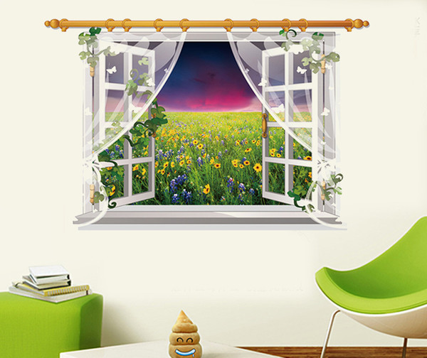 SK9020D 3D Wall Sticker Beautiful Flower Sea Wall Stickers Sunset View Vinyl Decals for Family Rooms