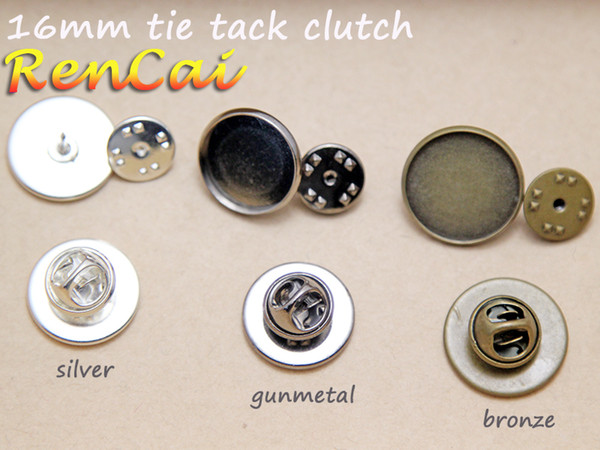 Al por mayor-50pcs Pin de solapa para 16 mm de vidrio cabujón-Bisel Broche-Tie Tack en blanco Pins-Pin broche en blanco Tie Tack Bisel en blanco Pin Back Brooch