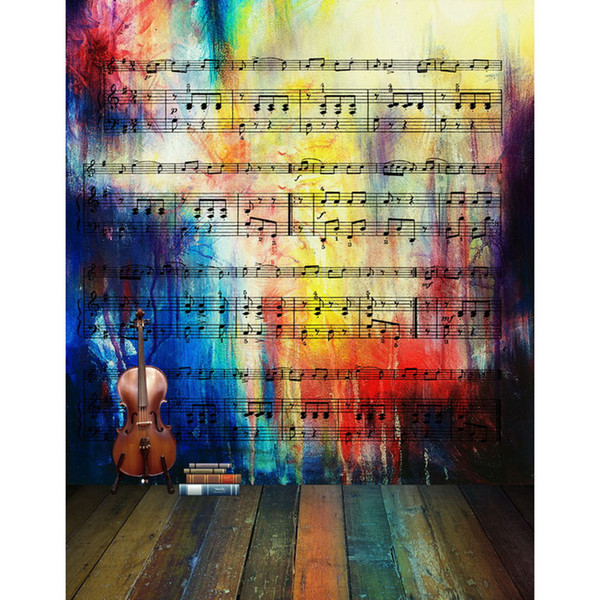 Digital Painted Colorful Wall Music Notes Backgrounds Vintage Dark Brown Guitar Books Kids Photography Backdrops Wooden Floor