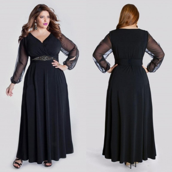 Plus Size Black Tulle Mother Of The Bride Dresses Long Sleeves V Neck Beads  Sash Ankle Length Formal Mother Bride Mother Of The Bride Dresses Cape ...