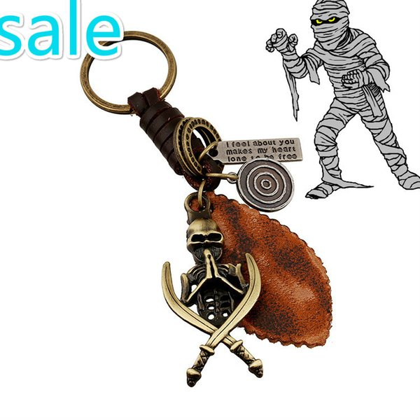 hot new European and American jewelry, air alloy skull, leather key buckle, retro woven men's leather, key buckle, post mail