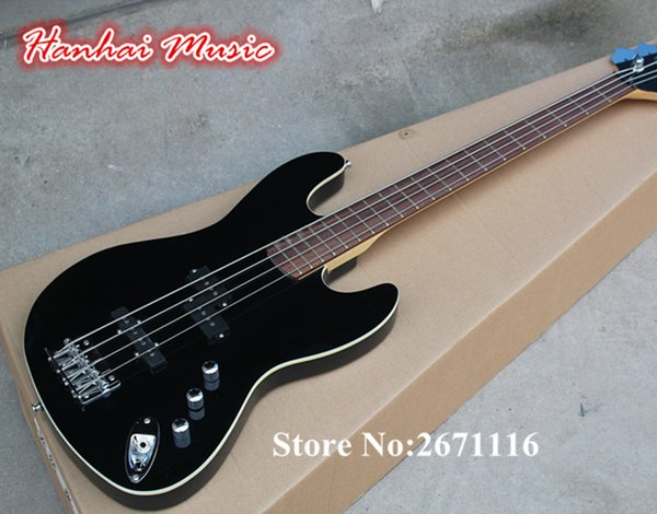 top popular Wholesale-High Quality 4-String Electric Bass,Black Color,20 Frets,White Binding,Rosewood Fretboard,3 Open Pickups,can be Customized 2020