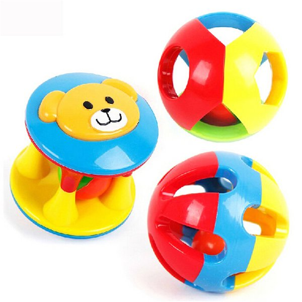 Wholesale- 2 PCS/Set Lovely Baby Rattles Plastic Baby Toys Hand Shake Bell Ring Toys Baby Newest Educational Toys