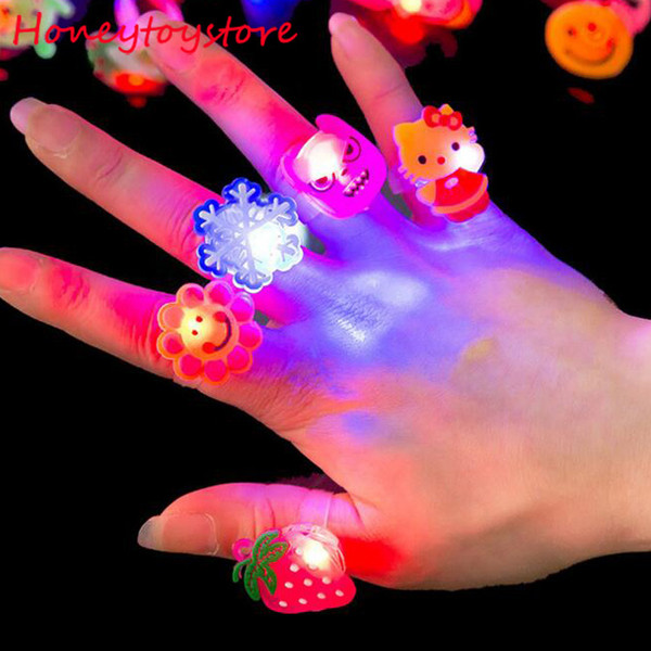 Hot 100pcs Kids Cartoon LED Flashing Light Up Glowing Finger Rings Electronic Birthday Party Toys Gifts for Children