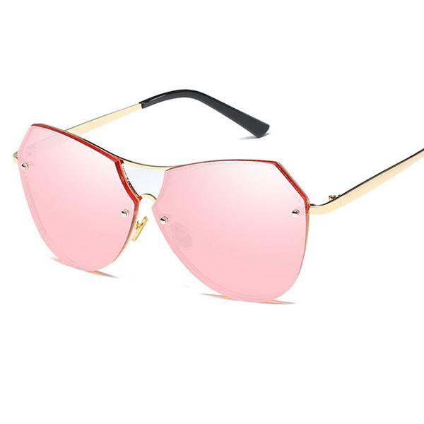 lady twin-beams oval pilot sunglasses women brand designer sun glasses men female vintage fashion metal frame mirror shades uv400 l69