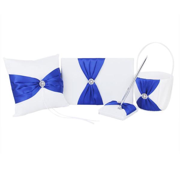 Rhinestone Decorated Wedding Guest Book + Bolígrafo + Soporte de pluma + Almohada de anillo + Juego de canasta de flores (blanco + azul real)