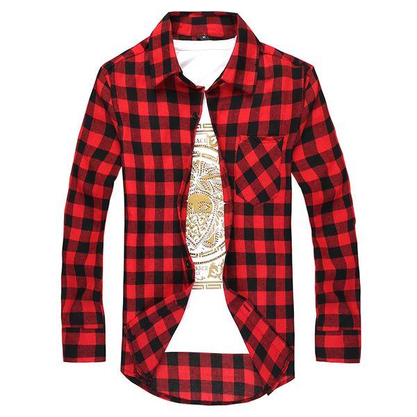 best selling Fashion Men's Long Sleeved Flannel Casual Plaid Shirt Men Checkered Dress Shirts Slim Stylish free shipping