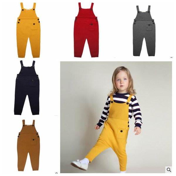 best selling INS Kids Overalls Knitted Suspender Trouser Kids Spring Knitwear Pocket Jumpuit Baby Fashion Long Pant Children European Style Clothing J292