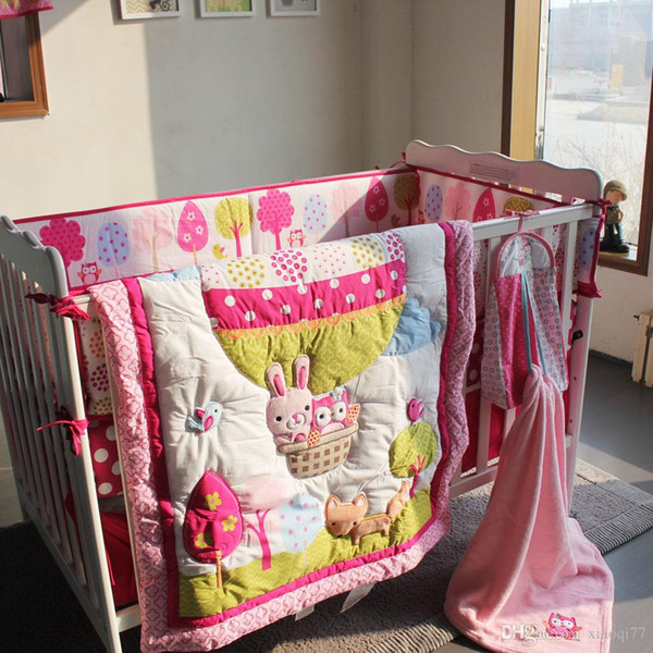 Girl Baby Bedding Set Cotton 3D Embroidery Hot Air Balloon Rabbit Fox Owl Quilt Bumper Bedskirt Fitted Blanket 8 Pieces Red