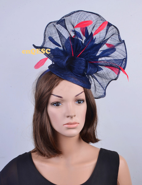NEW colors Navy red Big Sinamay feather fascinator hat for kentucky derby,melbourne cup,ascot races,wedding party.FREE SHIPPING.