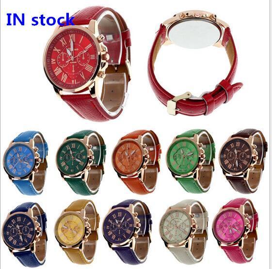 best selling 2017 Unisex Luxury Watches Geneva Silicone Roman Numerals Watch leather Bracelet Quartz Watch Fashion Mens Women Sports Cystal Watches