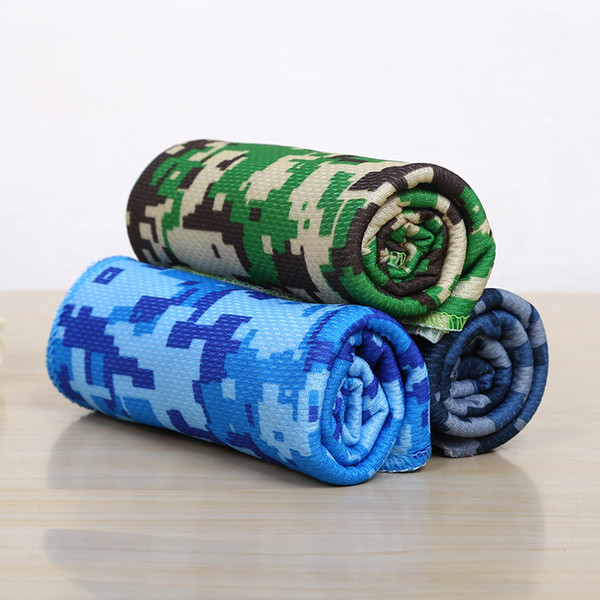 10pcs/lot Cold Towel Summer Sport Ice Cooling Towel Double Color camouflage Hypothermia Cool Towels 33*88cm for Sports Children Adult