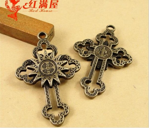 Bulk Antique Bronze cross charms for bracelet, metal vintage religious item crucifix pendant for necklace, jewelry making handmade materials