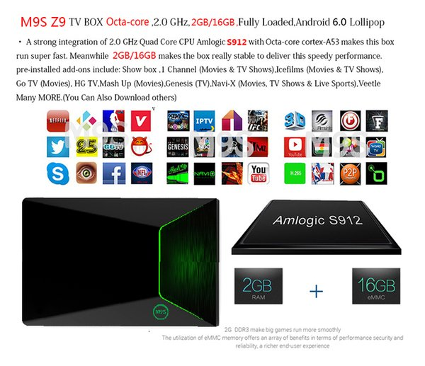 Android Smart TV Box M9S Z9 S912 Octa Core S912 + 2G + 16G Android6.0 TV Box 5G WiFi HDMI2.0 Bluetooth 4K Smart TV Caja Media Player