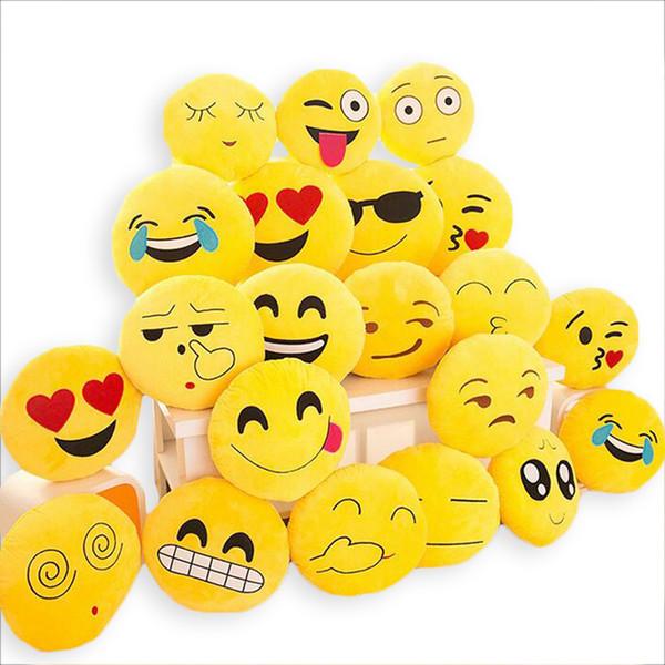 top popular Cute Soft Emoji Cushion Smiley Seat Cushions Pillow Facial Emotions Pillow Round Cushion Stuffed Plush Toy Gift for Kids 33*33cm 2019
