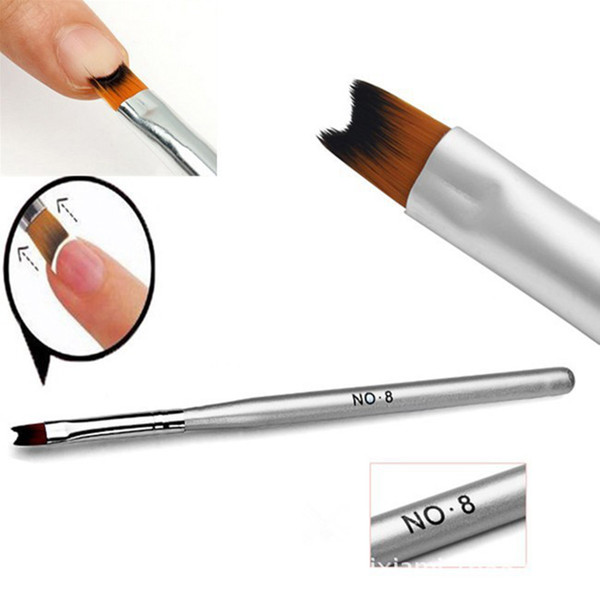 Wholesale- Hot Selling 1 Pc French Manicure Nail Brush Half Moon Drawing Pen Silver Acrylic Nail Art Design Tools