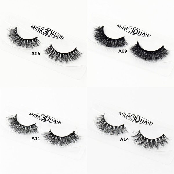 Wholesale- 3D MINK False Eyelashes Messy Cross Thick Natural Fake Eye Lashes Professional Makeup Bigeye Eye A01-A19 (blank box available)