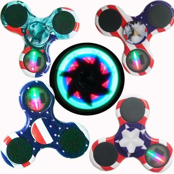 Ship 1 Day + rainbow fidget spinners light up fidget spinner with rgb flashing led light on/off switch and 3 model flashing mixed