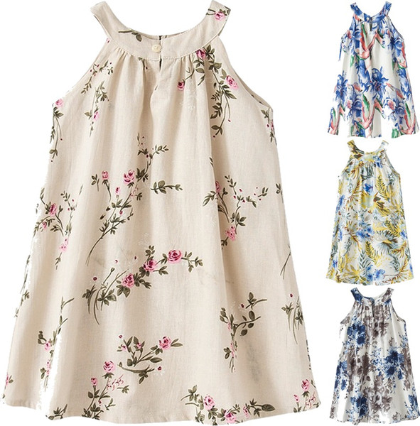 best selling INS Girls 100% Linen Vest Teenage Girl dress Kids Girls Print Linen Dresses Ruffles with bows Pink and White Color Kids Dress 1-7Years