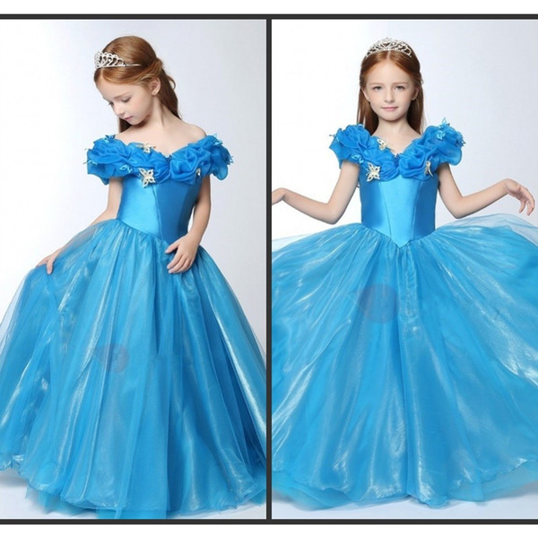 Cinderella Pagenat Gown Little Kids Bridthday Dresses Floor Length Long Off Shoulder Butterfly Zipper Back Custom Modest Free Shipping