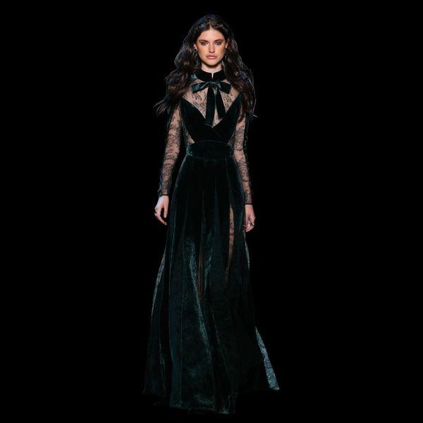 Elie Saab 2018 Vestidos Vestidos de noche Vestidos vintage Más tamaño Verde oscuro Vestidos Festa Con mangas Cuello alto Fall Lace Vestido de fiesta largo