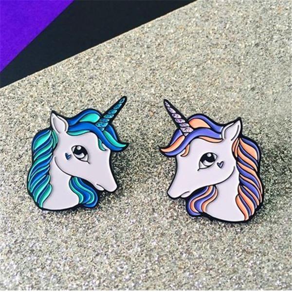 Wholesale- Tong qu creative little cute animal unicorn brooch fine coat sweater shirt collar pin bag accessories