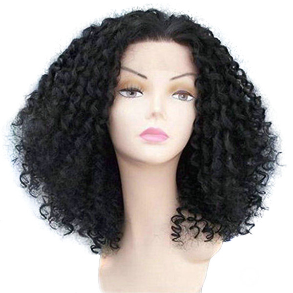 16 inch natural color brazilian hairs afro curly wig 100% human hair full lace wig lace front wig for black women